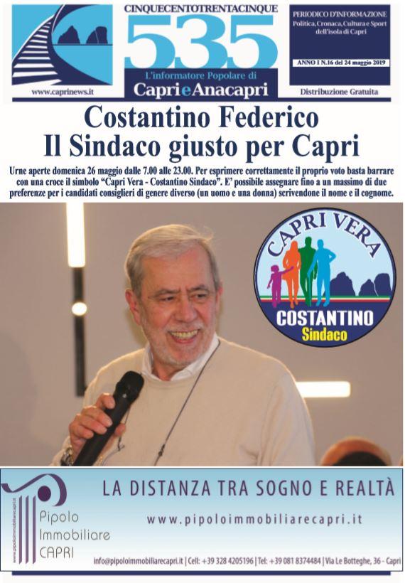 Il Sindaco giusto per Capri. (La copertina del periodico 535-L'informatore popolare)